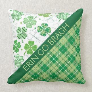 Green Plaid Tartan and Shamrocks Throw Pillow