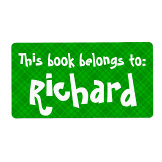 """Green Plaid """"This Book Belongs To"""" Label"""