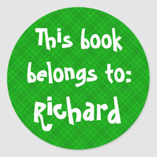 """Green Plaid """"This Book Belongs To"""" Label Classic Round Sticker"""