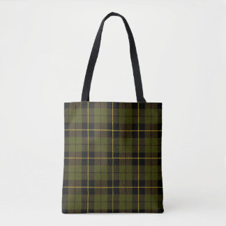 Green plaid with black and yellow stripe tote bag