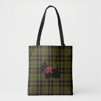 Green plaid with Scottish Terrier with red bow Tote Bag