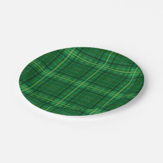 Green Plaid With Shamrock Paper Plate