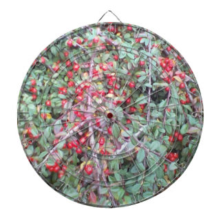 Green plant and red berry dartboard