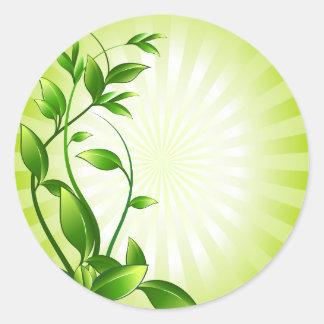 Green Plant Fash Classic Round Sticker