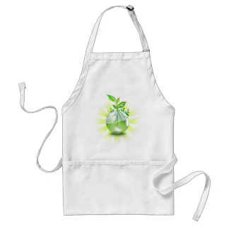 Green Plant Grows from Globe Adult Apron