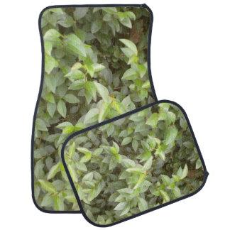 Green plant leaf car mat