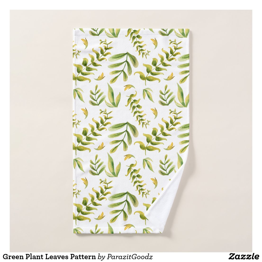 Green Plant Leaves Pattern Bath Towel Set