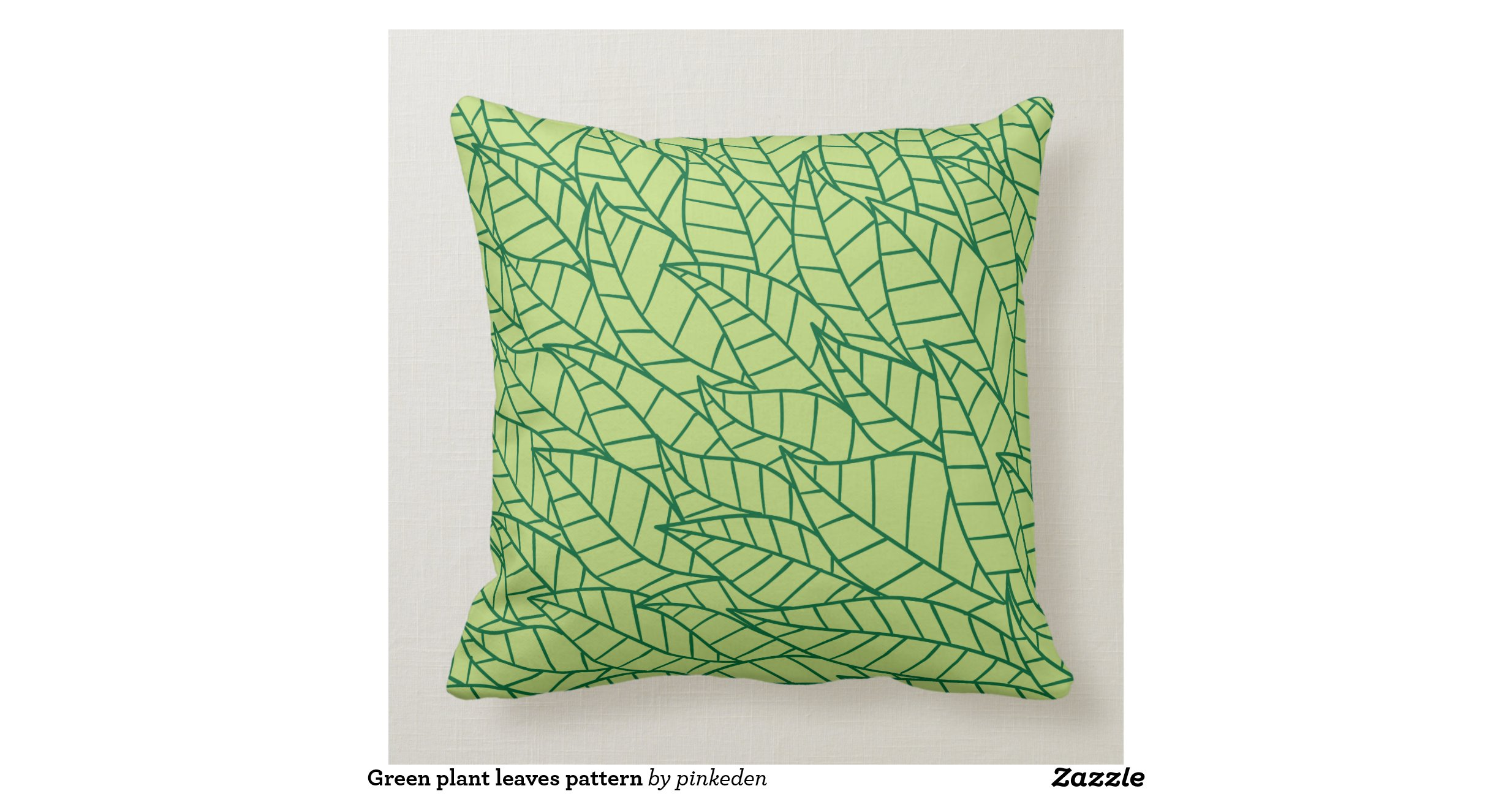 Green plant leaves pattern throw pillows Zazzle
