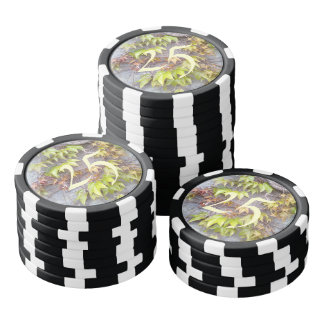 Green plant on a stone wall poker chips