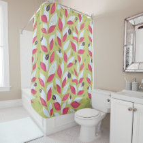 Green Plant With Pink Leaves And Ladybugs Spring Shower Curtain