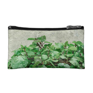 Green Plants Against Concrete Wall Cosmetic Bag