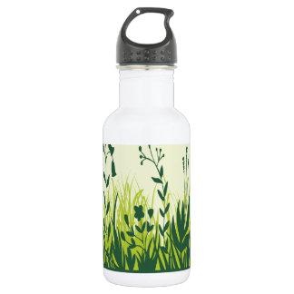 Green Plants Background 18oz Water Bottle