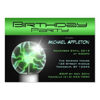 "Green Plasma Ball Birthday Party Invitations 5"" X 7"" Invitation Card"