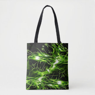 Green plasma pattern abstract shiny paint splashes tote bag