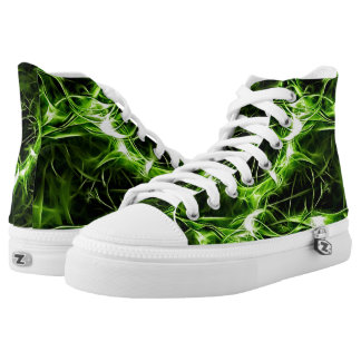 Green plasma pattern abstract shiny splashes High-Top sneakers