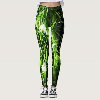 Green plasma pattern abstract shiny splashes leggings