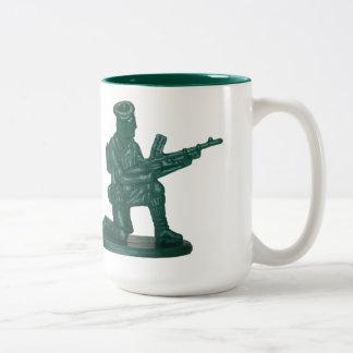 Green Plastic Army Man Two-Tone Coffee Mug