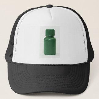 green plastic pills bottle trucker hat