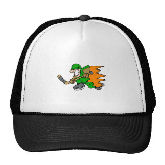 Green player on fire trucker hat