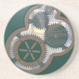 Green Playground Gears Side Drink Coaster