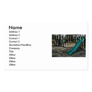 Green Playground slide, wood jungle gym Business Card