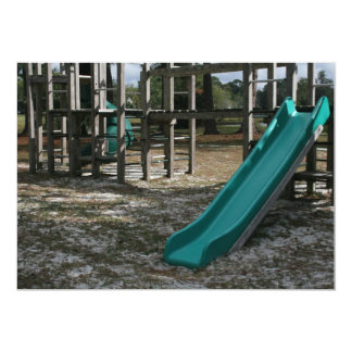 Green Playground slide, wood jungle gym Custom Invitation