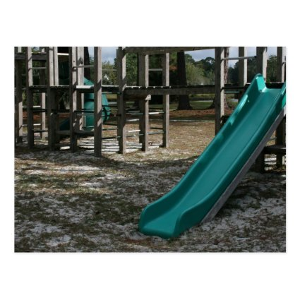 Green Playground slide, wood jungle gym Post Card