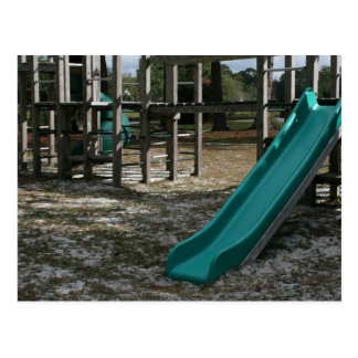 Green Playground slide, wood jungle gym Postcard