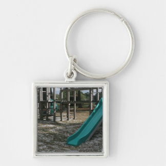 Green Playground slide, wood jungle gym Silver-Colored Square Keychain