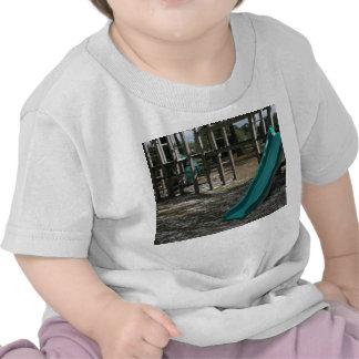Green Playground slide, wood jungle gym T Shirts