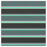 [ Thumbnail: Green, Plum, Dark Slate Gray, Black, and White Fabric ]