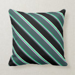 [ Thumbnail: Green, Plum, Dark Slate Gray, Black, and White Throw Pillow ]