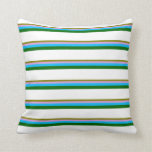 [ Thumbnail: Green, Plum, Deep Sky Blue, Dark Green, and White Throw Pillow ]