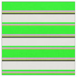 [ Thumbnail: Green, Plum, Lime, White & Black Colored Stripes Fabric ]