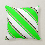 [ Thumbnail: Green, Plum, Lime, White & Black Colored Stripes Throw Pillow ]