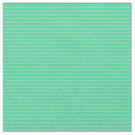 [ Thumbnail: Green & Plum Stripes Pattern Fabric ]