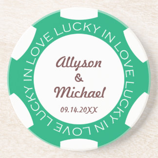 Green poker chip lucky in love wedding anniversary drink coaster
