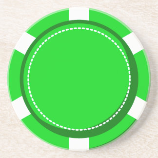 Green Poker Chip Sandstone Coaster