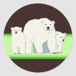 Green Polar Bears Envelope Seals Stickers