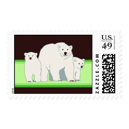 Green Polar Bears Postage Stamps