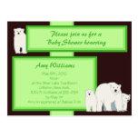 Green Polar Bears Postcard Shower Invitation