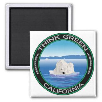 Green Polar California 2 Inch Square Magnet