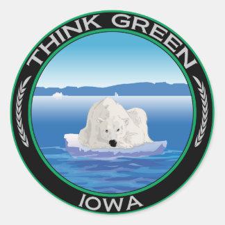 Green Polar Iowa Classic Round Sticker