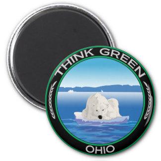 Green Polar Ohio 2 Inch Round Magnet