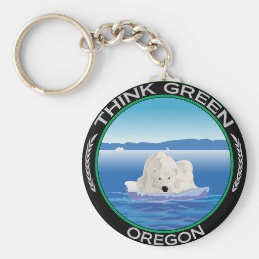 Green Polar Oregon Keychain