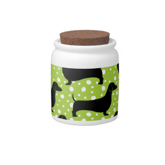 Green Polka Dachshunds Candy Jars