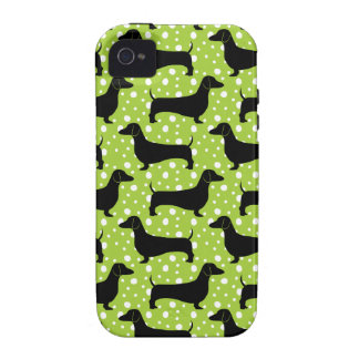 Green Polka Dachshunds Case For The iPhone 4
