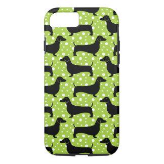 Green Polka Dachshunds iPhone 7 Case