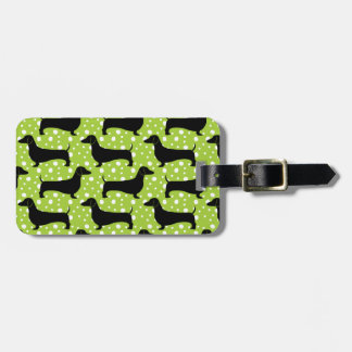 Green Polka Dachshunds Luggage Tag