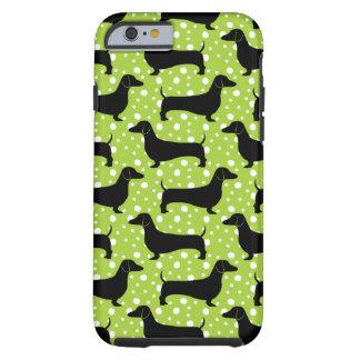 Green Polka Dachshunds Tough iPhone 6 Case